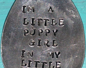 I'm a puppy girl in my little puppy world dog tag charm