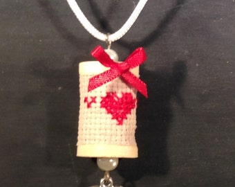 Red Heart Cross Stitch Spool Necklace