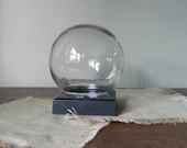 Vintage Glass Globe Flower Aquarium / Terrarium with square Base - Looks like a crystal ball