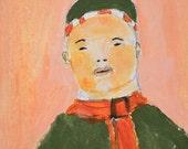 Acrylic Portrait Painting. Boy Portrait. 4x4 Miniature Art. Winter Coat & Scarf. Pocket Art. Home Office Decor