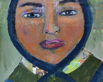 Acrylic Portrait Painting. Woman Wearing Blue Bonnet. Mother Gift For Her