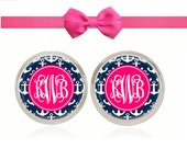 Monogram Earrings, Personalized Gift, Stud Earrings, Navy Anchors, Gift For Her, Gift Under 10, Monogram Gift (Pink and Navy Anchors)