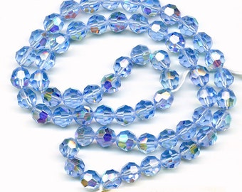 Vintage Crystal Beads 10mm Lt Sapphire AB Faceted Round 60 Pc. Original Strand