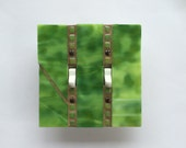 Lime Green Light Switch Cover, Mosaic Stained Glass, Double Toggle Switchplate, Dimmer Switch Plate, 2 Gang Wall Plate, 8143