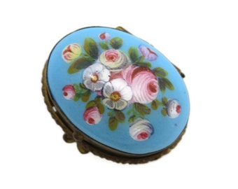 Antique Enamel Patch Box - Painted Flowers Robins Egg Turquoise Blue Opaline Glass Miniature Snuff Box
