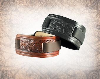 Woodland - Leather Watch Cuff, Leather Watch Strap, Leather Watch Band, Men's Watch Cuff, Women's Watch Cuff (1 Watch Cuff Only)