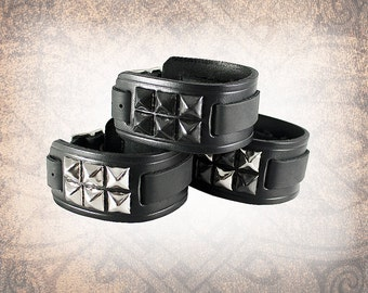 Studded Leather Watch Cuff, Leather Watch Strap, Watch Band, Black Watch Cuff, Cuff, Men's Watch Cuff - Custom to You (1 cuff only)