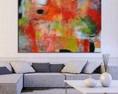 Orange abstract painting, large orange blue painting,red and green,abstract large painting,red canvas, free shipping, ,original painting