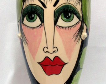 Tall Elongated Grecian Style Ceramic Vase Cherries, Strawberries & Leaves surround Elegant Stylish Woman's Face on Etsy
