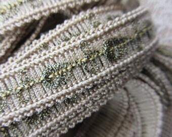 Vintage Metallic Trim Ribbon Sewing Edging Beige And Gold One Yard  BD-24