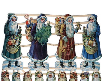 Germany Paper Scraps Die Cut LIthographed Victorian Christmas Santa Claus  7306