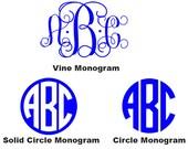 Set of 3 Monogram Vinyl Decals