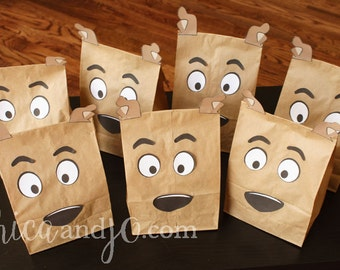 Scooby Doo Party Favor Bag Printable - DIGITAL - make doggie face treat bags!