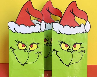 The Grinch Party Favor Bags Printables -- DIGITAL -- Perfect for a Grinch Grab!