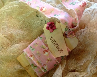 GRANDMAS WALLPAPER FABRIC - 3 Yards Vintage Rose Floral Ribbon Vintage Style  Trim - Hand Frayed - French Stamped Gift Tag