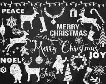 Chalkboard Christmas clipart - chalk clip art chalk doodles premium set digital scrapbooking Santa reindeer deer Christmas tree snowflakes