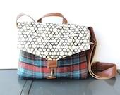 commuter • wool and printed canvas crossbody bag  • geometric print canvas - vintage wool plaid - brown tweed - messenger bag • hex