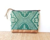 clutch  • geometric handprinted clutch • aqua canvas - teal handprinted geometric floral print - metallic bronze leather • talavera
