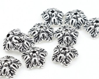 Antique Silver Beadcaps Oak Leaf Silver Bead Caps Oak Leaves TierraCast Pewter Fall Autumn Beads Metal Beads  (PC51)