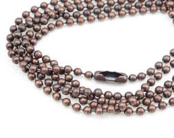 Extra Long Antique Copper Ball Necklace Chain TierraCast 2.4mm Ball Chain Necklace Ball Bead Chain Copper Chain Finished Necklace