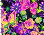 Butterfly Magenta Rainbow Garden Kona Bay Fabric 1 yard