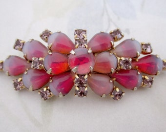 vintage rare Rifas signed hallmark prong set pink opal givre glass rhinestone gold tone brooch pin - j5859