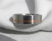 Wedding Band Titanium with Copper Inlay Ring Satin Finish