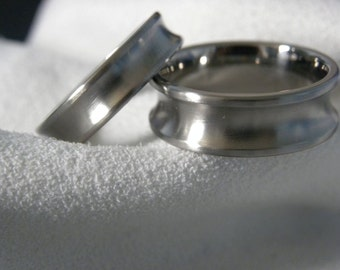 Titanium Ring SET Concave Cut Profile Satin Finish