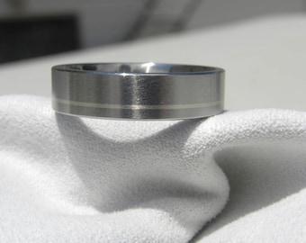 Titanium Ring with Offset Pinstripe White Gold Inlay Wedding Band Satin