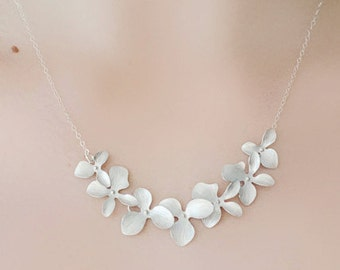 Bridesmaid Silver Orchid Flower Necklace