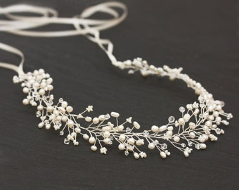 New Freshwater Pearl and Swarovski Crystal Full Bridal Headband, Crown, Halo Bridal Hair Accessories