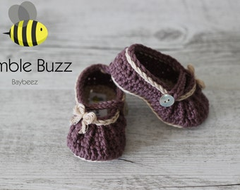 Country Girl - Baby Booties / Slippers / Shoes / Mary Janes 0-6 Months, 6-12 Months - Plum