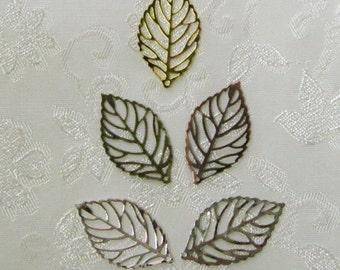 Leaf Filigree Mix You Choose Finish 15mm x 28mm Filigree Leaves 532