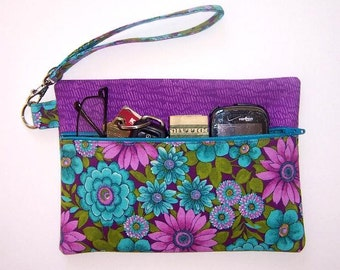 Purple Wristlet, Turquoise Clutch, Pink Floral Wallet, Small Zippered Purse, Lavender Makeup Bag, Camera and Gadget Bag, Purple Phone Case
