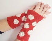 red and white polka dot wrist warmers - knitted arm warmers,  winter accessories