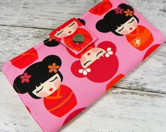Handmade Long Wallet  BiFold Clutch - Vegan Wallet - Hello Tokyo Girls in pink