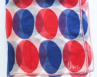 Vintage VERA Silk Crepe Scarf - Red and Blue Polka DOTS - Silk Blend with Rolled Hem / Verasheer