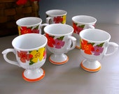 Mid-century Pedestal Mugs, SPRINGTIME R6746, Vintage Flower-Power Cups in Wild Retro Style and Bright Festive Colors, Set of Six, 1960s