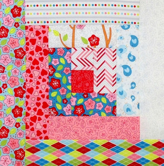12 Block Log Cabin Pre Cut Quilt Kit 29x39 Rjr By