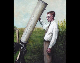 Clyde W. Tombaugh and His Telescope, Original Painting, Science, Pluto, Astronomy, Astronomer, Space Exploration, History, Kuiper Belt
