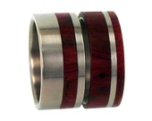 Titanium Wedding Ring Set, Redwood Band, Ring Armor Included