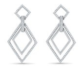 0.33 CT. T.W. Diamond Earrings For Her, White Gold or Sterling Silver Diamond Shaped Earrings