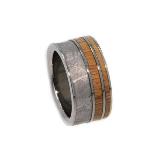 Interchangeable Bamboo Wood Ring, Meteorite Wedding Band, Titanium Pinstripes