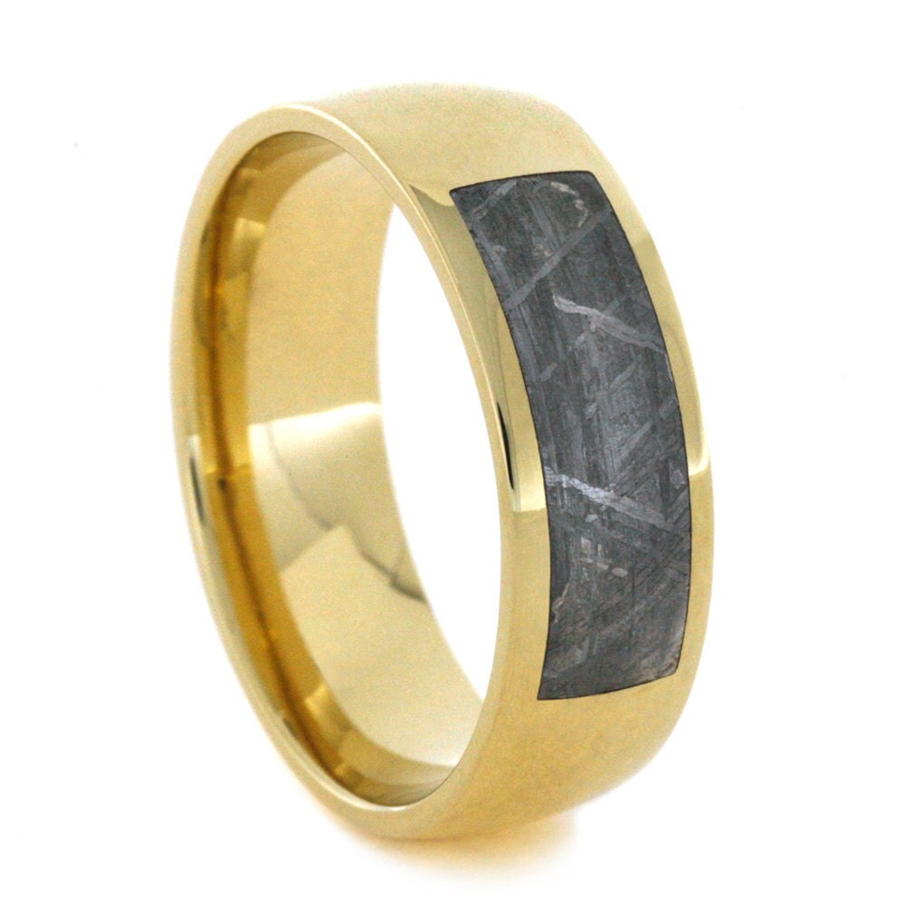 mens gold wedding band with partial meteorite by