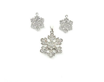 Sweet Silver-tone Snowflake Charms and Pendant Rhinestones Set