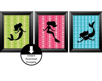 On Sale Instant Download Printable Nursery Children Wall Art Mermaid Silhouettes Set of 3
