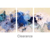 """Half Price CLEARANCE! REGULARLY 600 - NOW 300 Oversize triptych abstract art 40x90 giclee, from abstract painting """"The Blues Sometimes"""""""