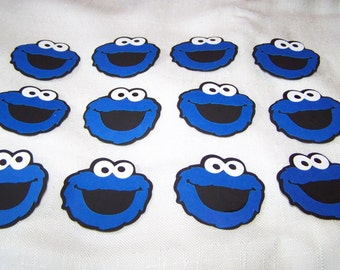 "Cookie Monster die cut 2"" (2 inch) party favors Sesame Street set of 12 