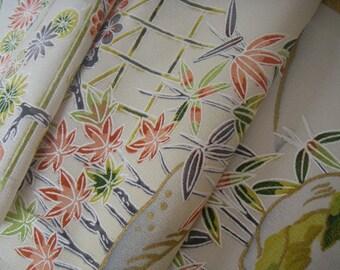 Vintage silk Japanese kimono fabric (plum flower)half width