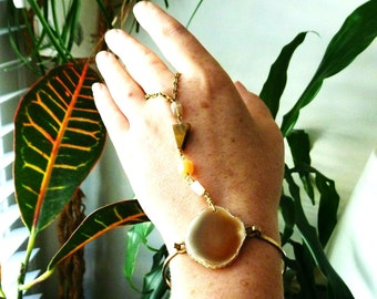 Crystal Hand Chain Bracelet. Agate and Moonstone and Tiger Eye Stone Cuff & Ring. Hand Harness Body Jewelry